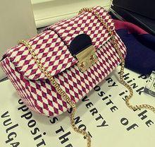 Diamond lattice Woolen Bag 2015 new handbag Euramerican street fashion bag small chain bag