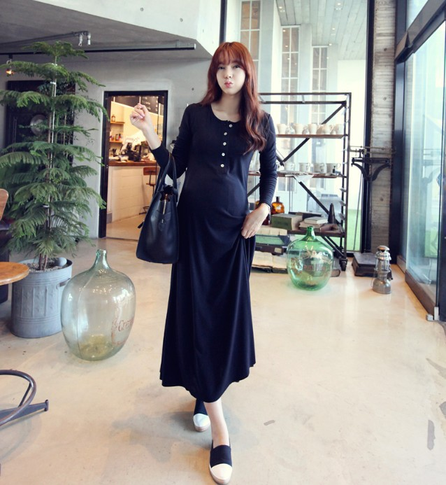 Free shipping 2015 spring fashion loose free size korean pregnant women one-piece dress long sleeves maternity clothes cotton(China (Mainland))