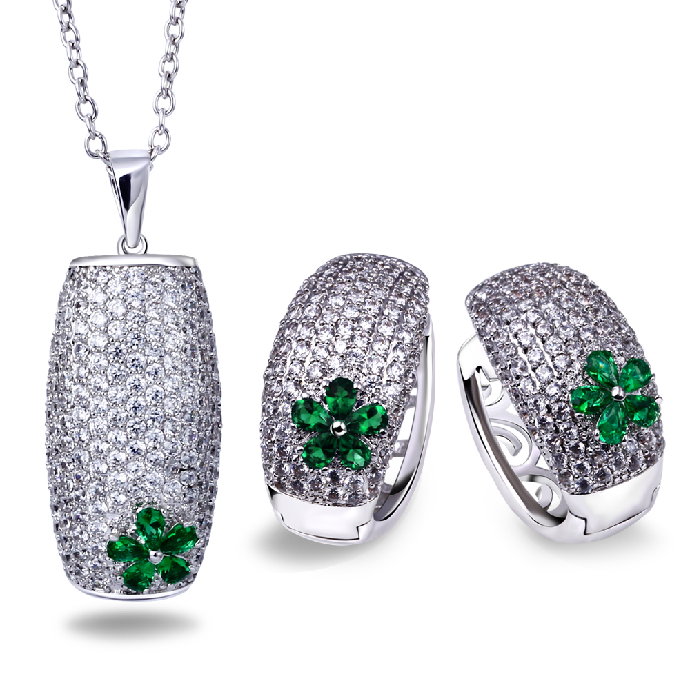 Platinum Plated CZ Crystal Necklace Earrings Jewelry sets Fashion Women Luxury Emerald Green & Ruby Wedding Party - ANGEL in store