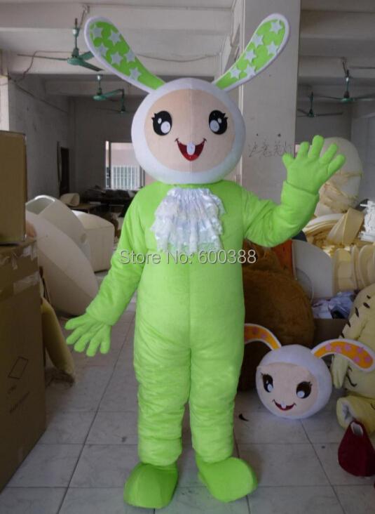 Reales bild!!! Neue christmas cartoon character design grüne hase kaninchen maskottchen kostüm kinder kostüm party(China (Mainland))