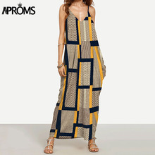 Buy Aproms Elegant Long Maxi Dress Summer 2017 Women Boho Deep V Neck Sleeveless Loose Dresses Beach Wear Plus Size Sundress Vestido for $8.99 in AliExpress store
