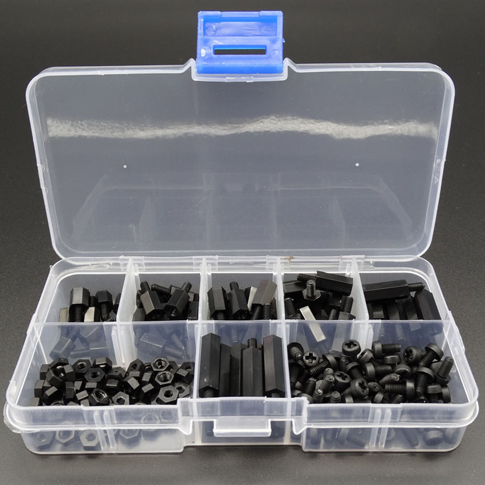 180pcs/case Nylon Screws And Bolts m3 Plastic Bolt Nut Kit Hex Assorted Nuts And Bolts Black Sets Of Nuts With Plastic Box HW234(China (Mainland))