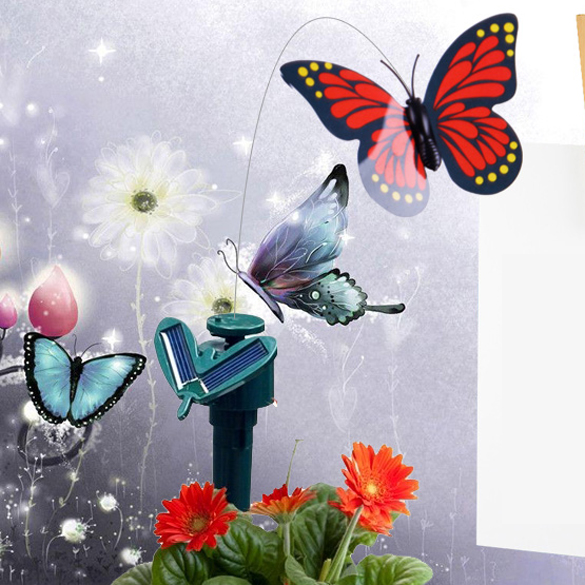 DIU# high quality Solar Powered Dancing Flying Fluttering Butterfly Garden Decoration Free Shipping(China (Mainland))