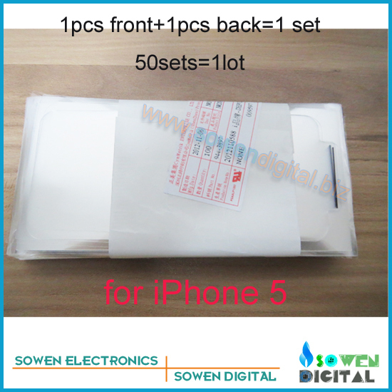 for iPhone 5 5G Factory OEM screen protector protective film,White and black,front+back=1set,50set/lot,DHL/UPS/EMS free shipping