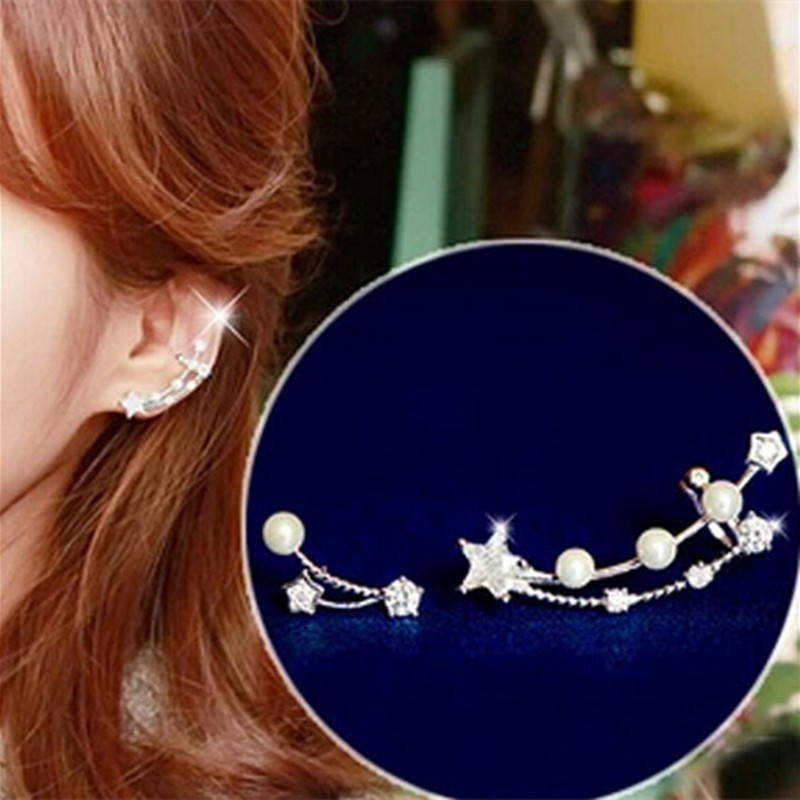 2016Korean Asymmetric Pearl Star Earrings Female South Korean Fashion Style Zircon Earrings Casual Simple For Gift(China (Mainland))