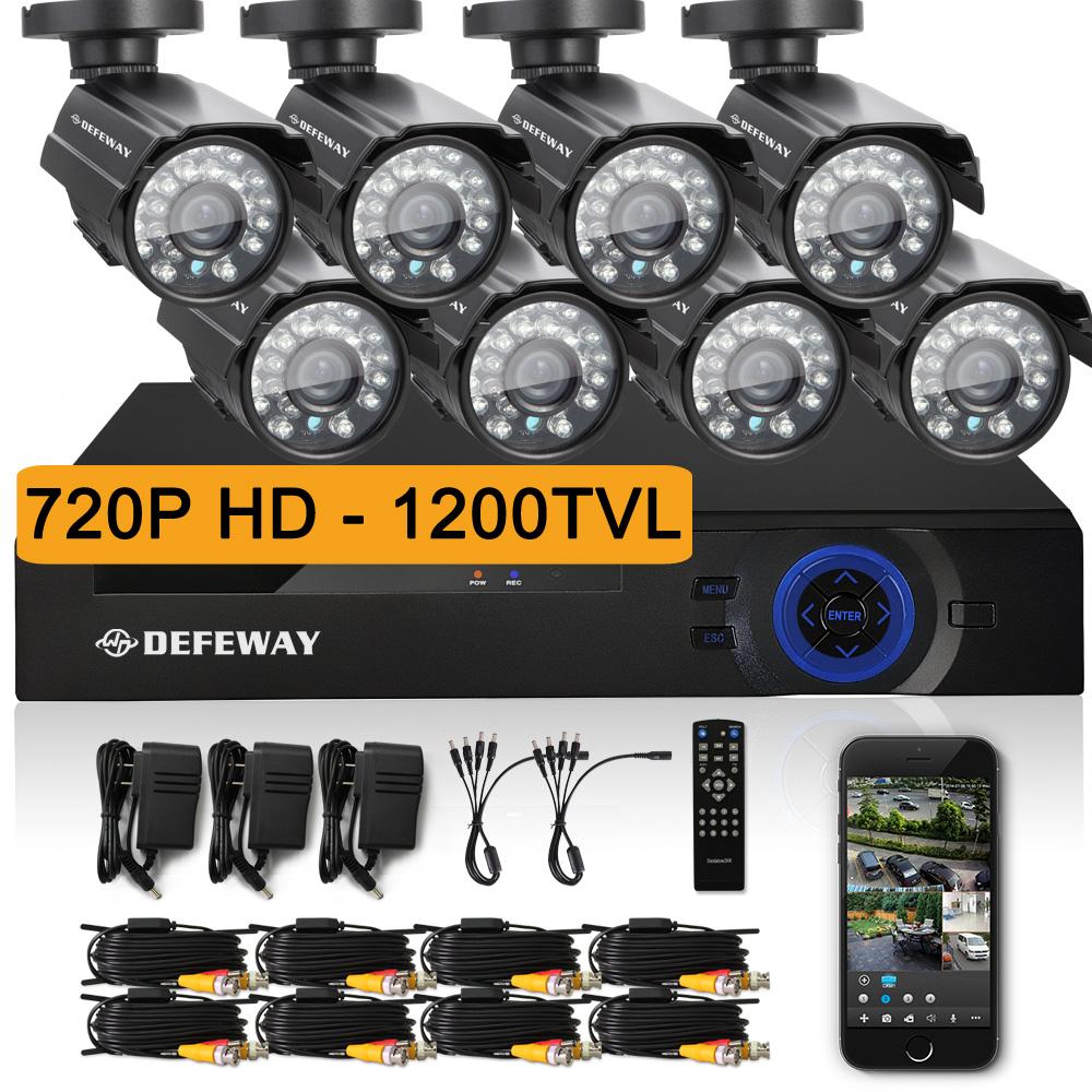 DEFEWAY 1280* 720P HD 1200TVL Outdoor Security Camera System 1080P HDMI CCTV Video Surveillance 8CH DVR Kit AHD Camera Set(China (Mainland))