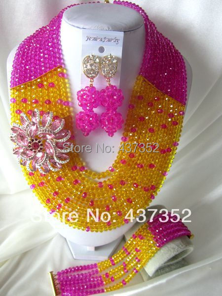 New Fashion Nigerian African Wedding Beads Jewelry Set Fuchisa Crystal Beads Jewelry Set Necklaces Bracelet Earrings CPS-1012<br><br>Aliexpress