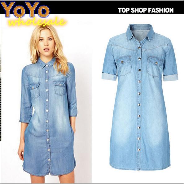 2015 Hot Sale Europe America Style Fashion Elegant Retro Slim Turn-down Collar Women Cowboy Dress More size W991(China (Mainland))