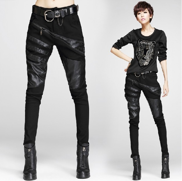 new fashion spring autumn winter cotton faux leather pu black plus size casual trousers formal women harem pants 2015(China (Mainland))
