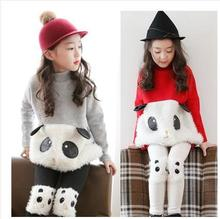 Retail New Winter 2014 Kids Baby Girls Pure Color High Collar Cartoon Panda Thicken Hoodies Fashion Toddlers Fleece Clothes 2-7T(China (Mainland))
