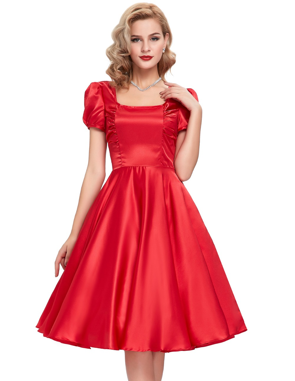 Elegant  WomensDresses2016RobePinupBigSwingLongSleeve50sVintageDress