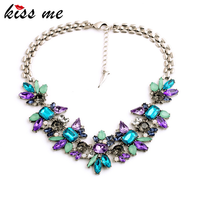 Luxury Created Crystal Flower Pendants Statement Necklace 2015 Fashion Jewelry Women Accessories(China (Mainland))