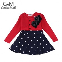 Lovely Flower Girls Dress Flower Long Sleeve Baby Clothing S/M/L/Xl 7-24 Mo 18(China (Mainland))