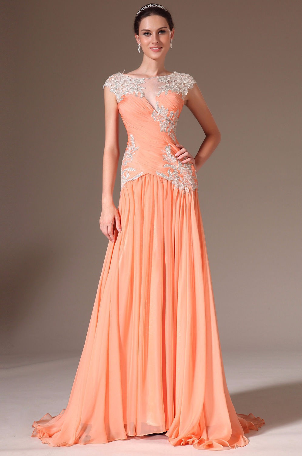 New arrival fashion elegant cap sleeve appliques floor for Wedding dress stores orange county