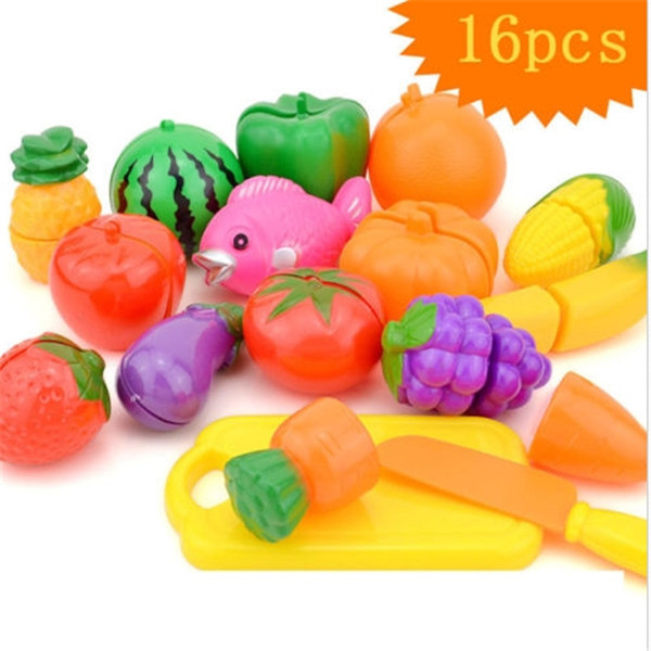 16pcs/Set Plastic Kitchen Food Fruit Vegetable Colorful Cutting Pretend Play Educational Toys(China (Mainland))