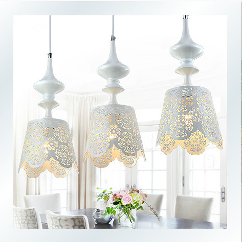 Modern Nordic White Chandeliers 3 lights Lustres Pendant Lamps Light Fixtures Kitchen Hanging Lamp E27 220V for Decor luminaria(China (Mainland))