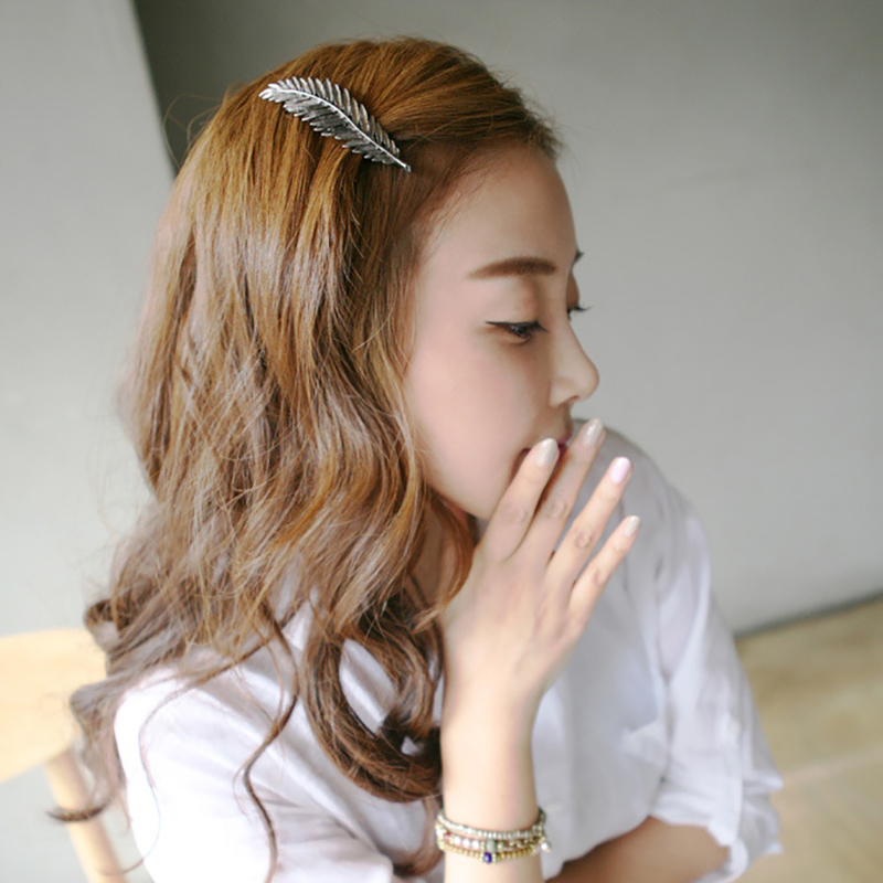 Retro Feather Leaf Hair Clip Finest Metal Clamp Hair Accessories for Women or Girls(China (Mainland))