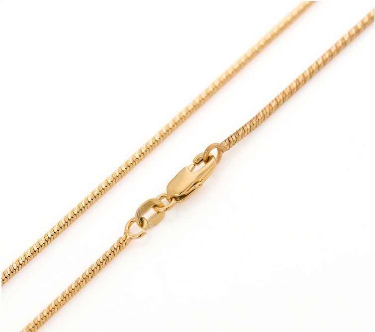 18K real gold plated franco snake box Chain men women 24inches 1.3mm thin long necklace & pendant - YIWU WENHAN JEWELRY CO.,LTD Store store