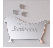 2 style / set Bathroom Men and women Sign Acrylic 3D Mirror Wall Sticker Toilet Door Mirror Sticker Home Decor. Free Shipping