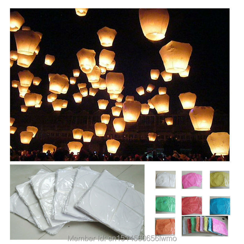 Wholesale 10 PCS/lot Chinese wish sky flying paper lanterns Pure-color lucky kongming lanterns for party(China (Mainland))