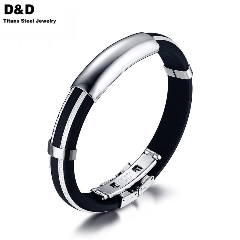 Wholesale White Silicone Men Bracelet Bangle Sport Rubber DIY Adjustable Rubber Length Stainless Steel Hand Jewelry BS-048(China (Mainland))