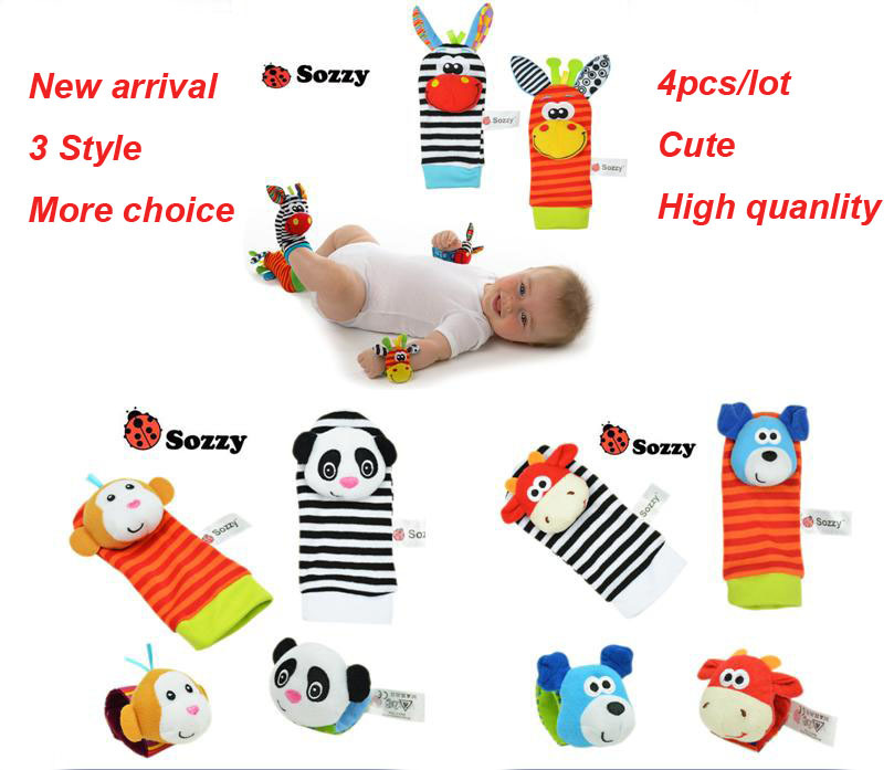 4pcs/lot=2 pcs waist+2 pcs socks, 2015 New Hot Toy Baby Rattle Toys Garden Bug Wrist Rattle and Foot Socks Free shipping(China (Mainland))