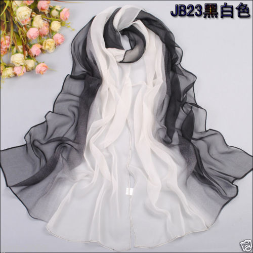 Womens fashion Gradient Black White wrap lady shawl stole silk chiffon scarf(China (Mainland))