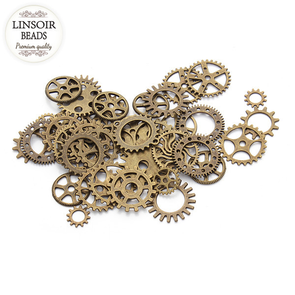 Mix 3Vintage steampunk Charms Gear Pendant Antique bronze Fit Bracelets necklace DIY Metal Jewelry Finding F2630 - Linsoir Beads official store