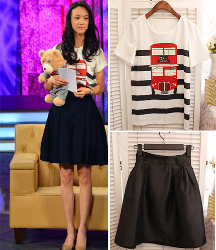hot sale Free shipping summer women cheap clothing Fashion 8862 bus car stripe print short-sleeve T-shirt bust skirt set