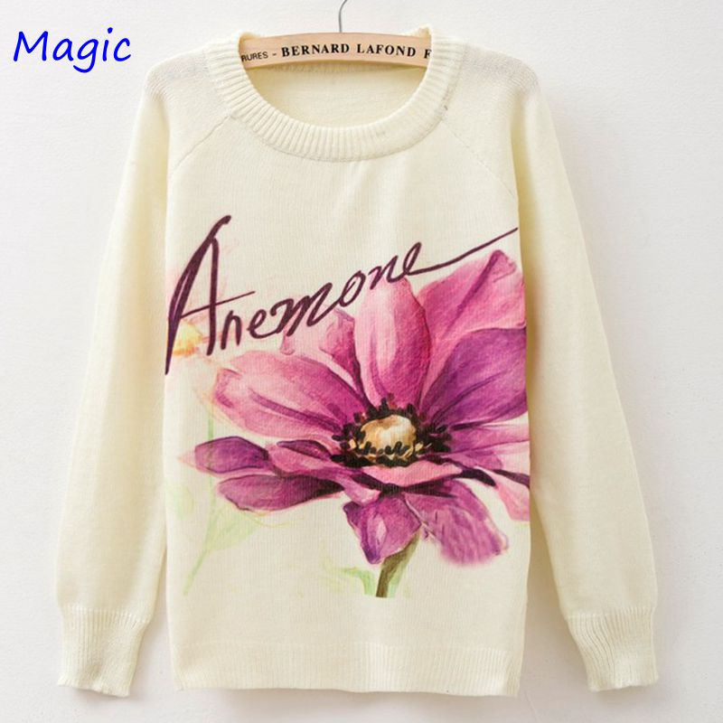 [Magic] In the autumn of 2015 the new round neck Knitting sweater fashion womens clothing big flower pullovers 20 modelsОдежда и ак�е��уары<br><br><br>Aliexpress