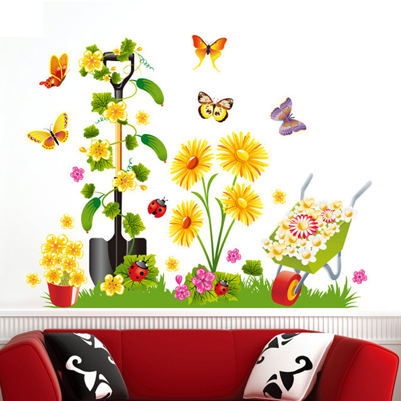 1pcs Cartoon Garden Flower Butterfly 3D Wall Sticker Decals Wallpaper Mural Ornament Room Bedroom Living House Home Decoration(China (Mainland))
