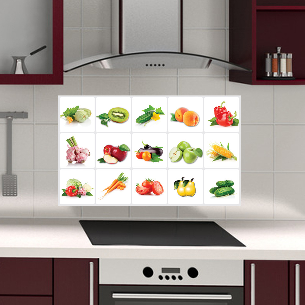 Kitchen Tiles Fruits Vegetables: Cabinet Fruit Anti Oil Kitchen Wall Tile Stickers