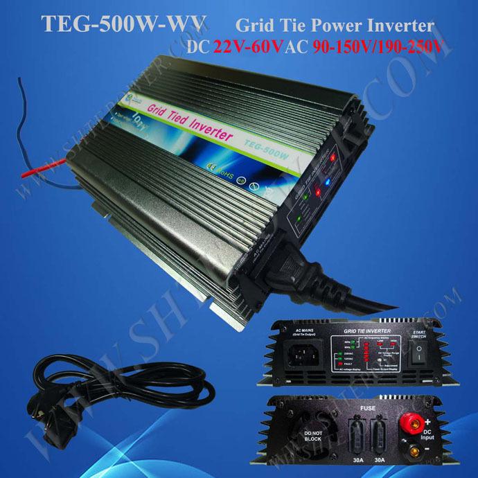 Free Shipping Pure sine wave micro solar grid tie inverter 500W , AC190-260V DC 22-60V auto control solar power inverter(China (Mainland))