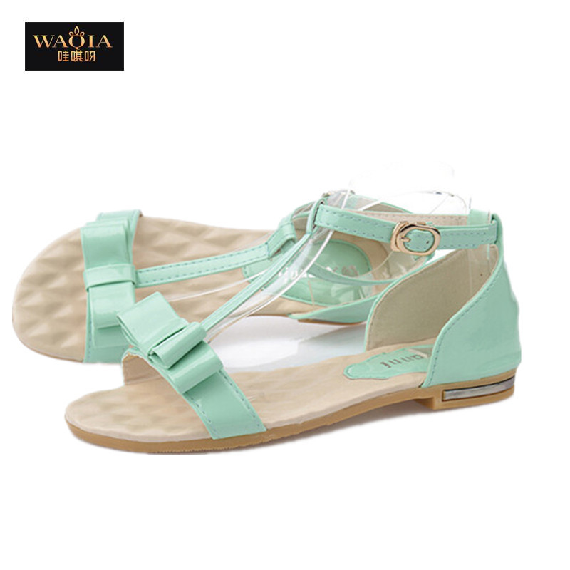 2015 New Sweet Summer style Gladiator Sandals Women Shallow Pu Adhesive Casual Women Sandals Bow Wedges Shoes Comfortable Flats(China (Mainland))