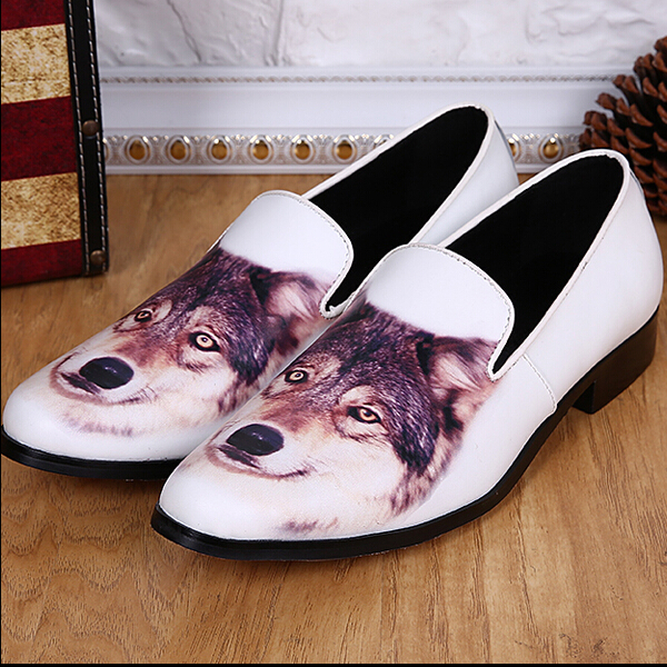 2015 Slip-On Totem Printing Men's Flats Shoes Nubuck Leather Driving Shoes Mens Loafers Mocassins Male Boat shoes Zapatos Hombre
