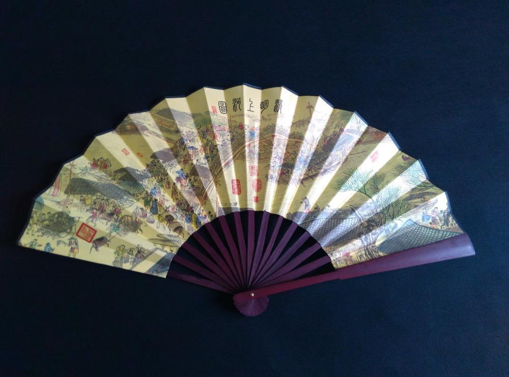 Brand Hand Fan Chinese Folding Fan Wedding Bamboo One side Riverside Scroll Fan 2015 High Quality Sport 000111(China (Mainland))