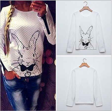 2015 Spring Women Hoody Long Sleeve women Casual Sweatshirts T-shirt Rabbit Printed Hoodies Zipper Pullover Tshirt - Whats Apparel store
