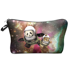 Women Cosmetic Bag 2016 Hot-selling Travel Makeup Case Fashion Brand 3D Printing Galaxy Panda And Cat Partten Christmas Gift H21