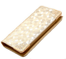 New style famous brand wallet women purse stone grain gold silver black color PU leather wallets money clip free shipping(China (Mainland))