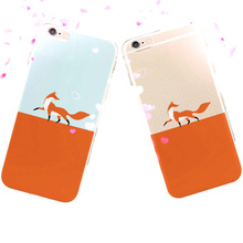Cute Cartoon Fox Lovers Phone Case Cover iPhone5s 7 PlusSweet Honey Protective Soft Silicone 6 6s Plus Capa Para - Emax store