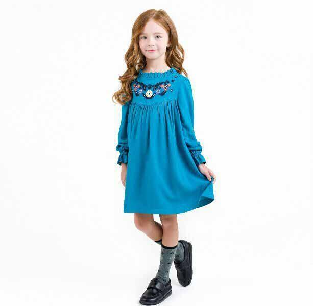 2016 Spring New Kids Girls Embroider Ruffles Party Dress Sweet Princess Classic Multi Color Casual Fall Dress 6pcs/lot Wholesale<br><br>Aliexpress