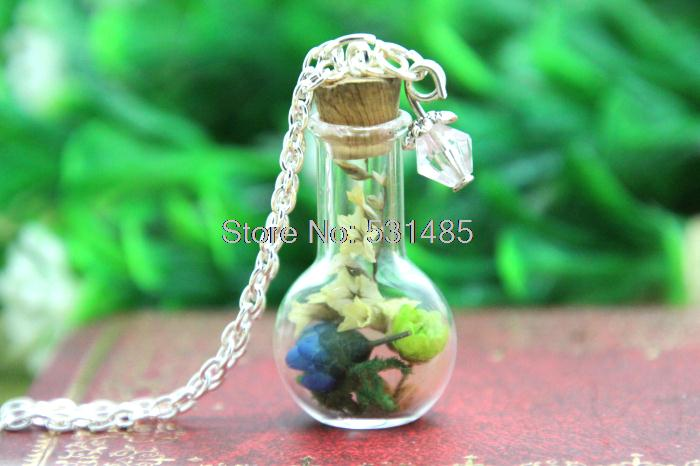 10pcs Colorful Flower Glass Bottle Necklace Moss crystal silver chain necklace woodland jewelry(China (Mainland))