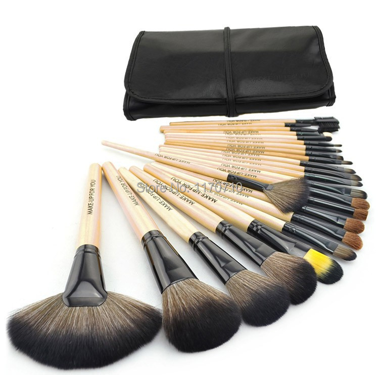 2015 Hot Goat Hair Professional Makeup Brush Set wood Makeup Brushes 24PCS Set Including a Deluxe
