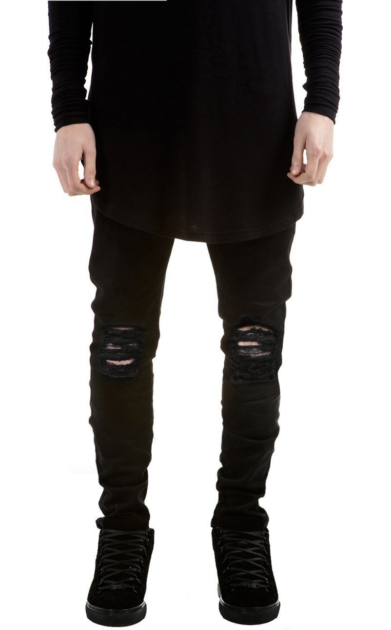 New Autumn Distressed Skinny Ripped  hip hop Jeans Mens Big Hole On Knee Swag Streetwear Clothes Destroy Denim Pants Kanye west