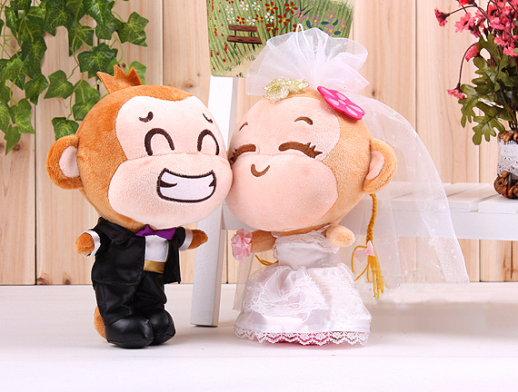 about 25cm loves wedding dress monkey plush toys girlfriend birthday gift, wedding gift w6594(China (Mainland))