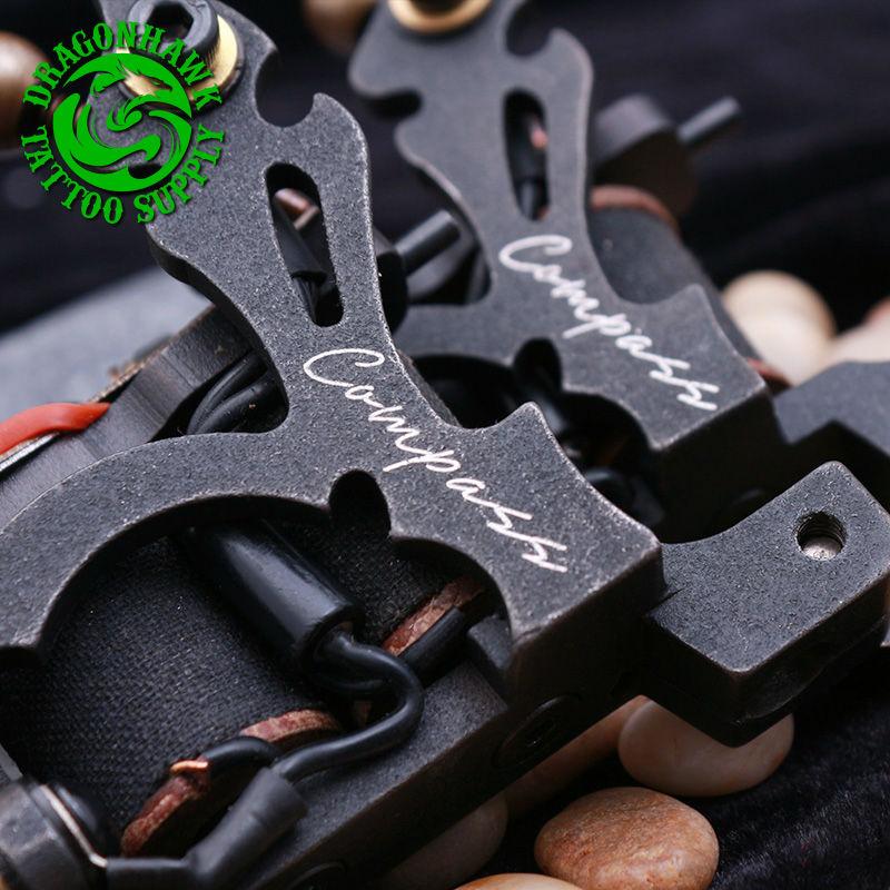 2PCS New Design Compass Tattoo Machine Liner And Shader Steel Frame Copper Coils Tattoo Gun
