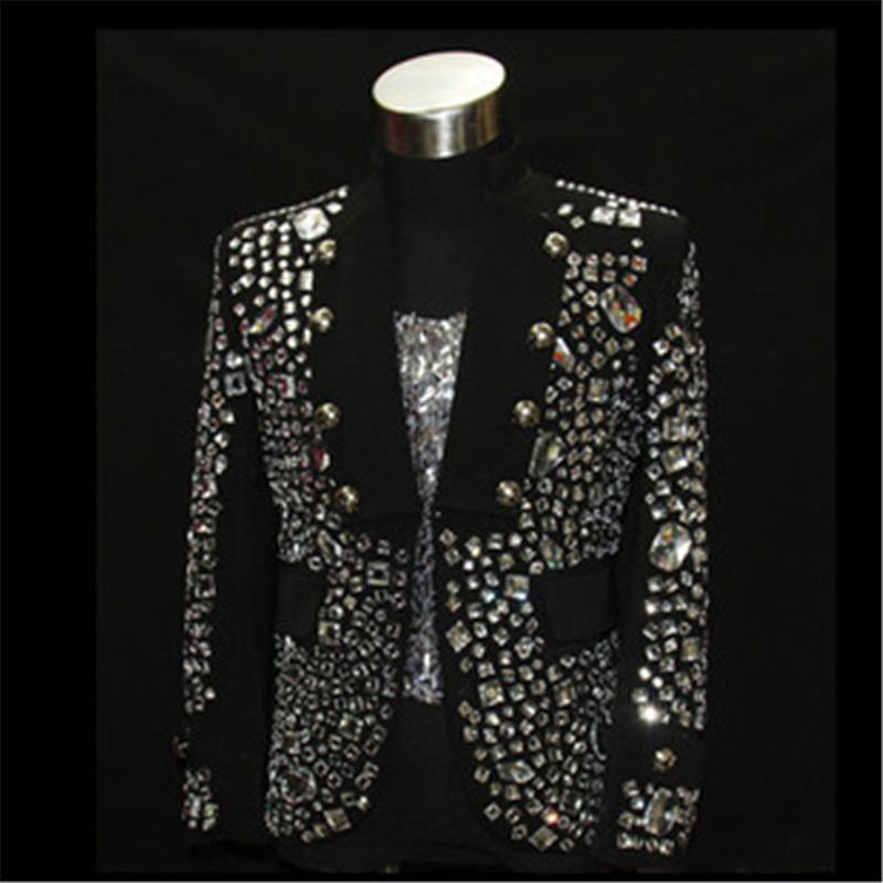 Shining Rhinestone Stage Performance Wear Black Color Fashion Dance Clothing for Ballroom Nightclub Trendy Jacket Outfits DH-021(China (Mainland))