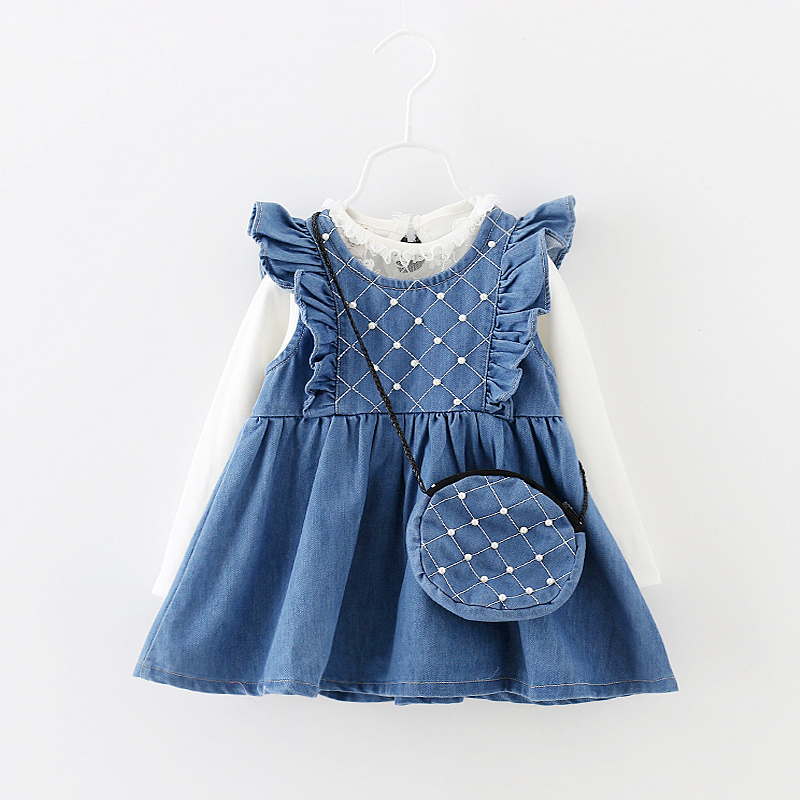 3pcs/Set High Quality Girl dress With Bag,Children girls Dress Sleeveless Causal Girls Denim Jeans Decorated With Pearls&bag(China (Mainland))