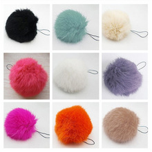 High Quality Free Shipping 1PC Soft Rabbit Fur Ball Key Chains Ring Mobile Phone Tag Vogue String YH671434(China (Mainland))