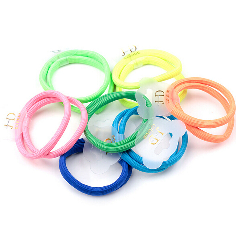 New Brand JD Basic Elastic Hair Bands Fluorescent Colors Korean Wide Ponytail Holder Rope Kids Girls Women Hair Accessories(China (Mainland))